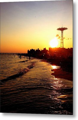 Beach Sunset - Coney Island - New York City Metal Print by Vivienne Gucwa