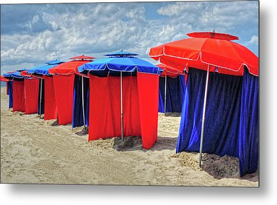 Metal Print featuring the photograph Beach Umbrellas Nice France by Dave Mills