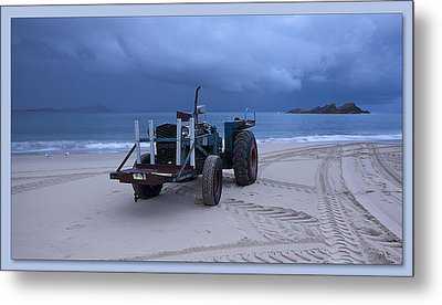 Metal Print featuring the digital art Beached Tractor by Kevin Chippindall