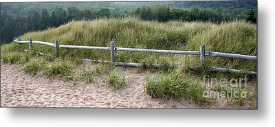 Beachside Fence Panorama Metal Print by Chris Hill