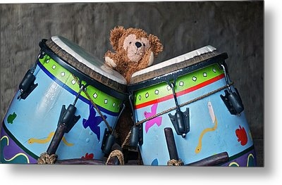 Metal Print featuring the photograph Bear And His Drums At Walt Disney World by Thomas Woolworth