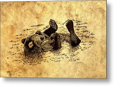 Bear Cub In Sepia Wash Metal Print