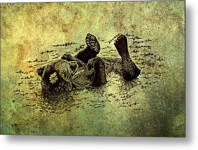 Bear Cub On Textured Board Metal Print