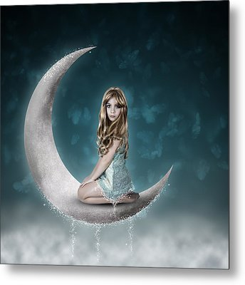 Metal Print featuring the photograph Beautiful Child Sitting On Crescent Moon by Ethiriel  Photography