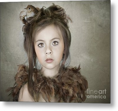 Metal Print featuring the photograph Beautiful Child With Bird by Ethiriel  Photography