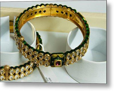 Beautiful Green And Purple Covered Gold Bangles With Semi-precious Stones Inlaid Metal Print by Ashish Agarwal
