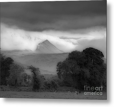 Beautiful Killarney Mountains Ireland Black And White Metal Print