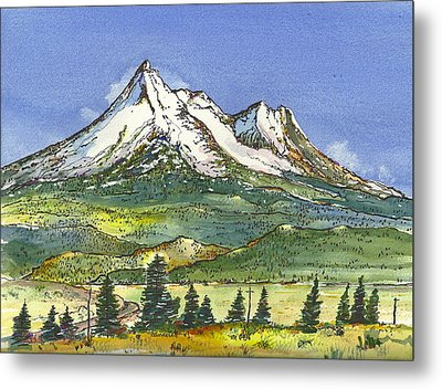 Metal Print featuring the painting Beautiful Mt Shasta  by Terry Banderas