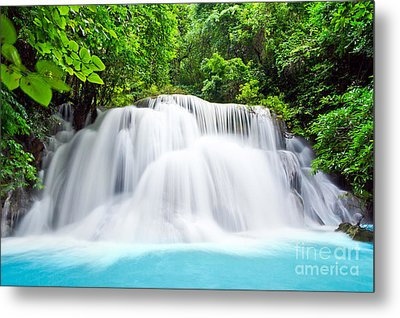 Beautiful Water Fall In The Forest Metal Print