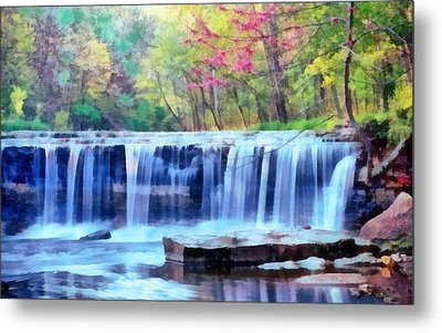 Metal Print featuring the digital art Beautiful Water Fall by Walter Colvin