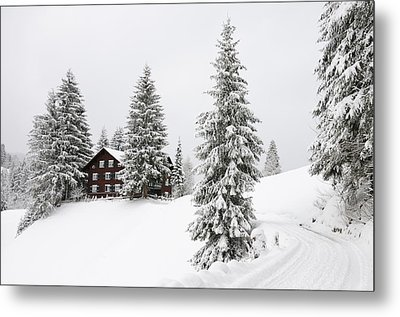 Beautiful Winter Landscape With Trees And House Metal Print by Matthias Hauser