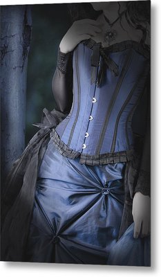 Metal Print featuring the photograph Beautiful Young Woman In Forest by Ethiriel  Photography