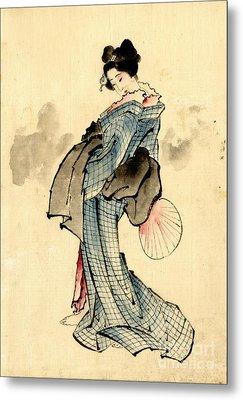 Beauty With Fan 1840 Metal Print by Padre Art