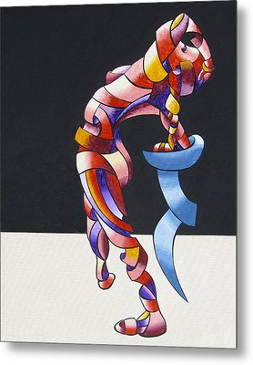 Becca 208-08 - Abstract Geometric Futurist Figurative Oil Painting Metal Print by Mark Webster