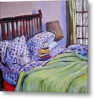 Bed And Books Metal Print by Tilly Strauss