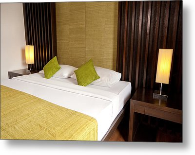 Bed Room Metal Print by Atiketta Sangasaeng