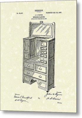 Bedroom Cabinet Design 1907 Patent Art Metal Print by Prior Art Design