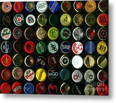 Beer Bottle Caps . 9 To 12 Proportion Metal Print by Wingsdomain Art and Photography
