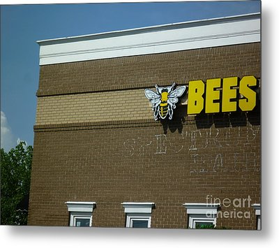 Metal Print featuring the photograph Bees On Building by Renee Trenholm