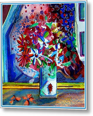 Beetle And Flowers Metal Print by Mindy Newman