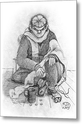 Beggar 2  In The  Winter Street Sitting On Floor Wearing Worn Out Cloths Metal Print