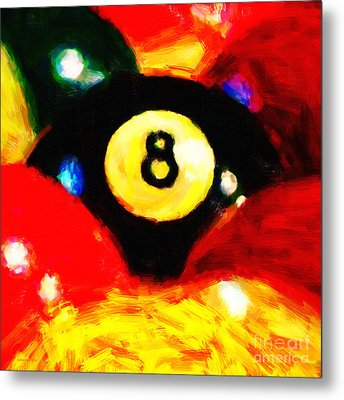 Behind The Eight Ball - Square Metal Print by Wingsdomain Art and Photography