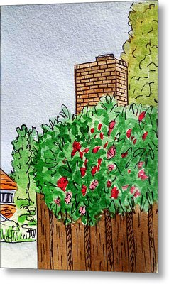 Behind The Fence Sketchbook Project Down My Street Metal Print by Irina Sztukowski