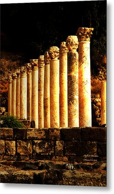 Beit She'an - Ancient Site - Colonnade.. Cardo 2 Metal Print by Itzhak Richter