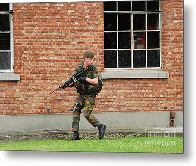 Belgian Infantrists Under Attack Metal Print by Luc De Jaeger