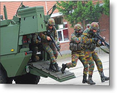 Belgian Infantry Soldiers Exit Metal Print by Luc De Jaeger
