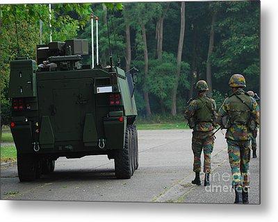Belgian Infantry Soldiers Walk Metal Print by Luc De Jaeger