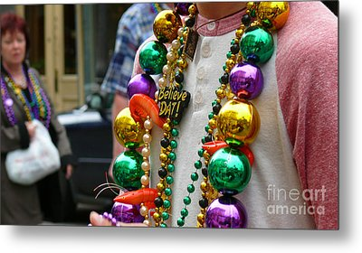 Metal Print featuring the photograph Believe Dat Mardi Gras Beads by Jeanne  Woods