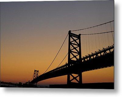 Ben Franklin Bridge Sunrise Metal Print by Bill Cannon