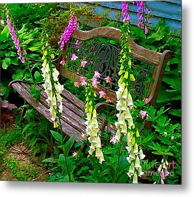 Bench Among The Foxgloves Metal Print by Julie Dant