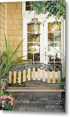 Bench On Patio Metal Print by Andersen Ross
