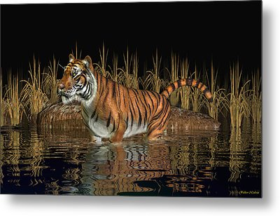Metal Print featuring the digital art Bengal Tiger by Walter Colvin