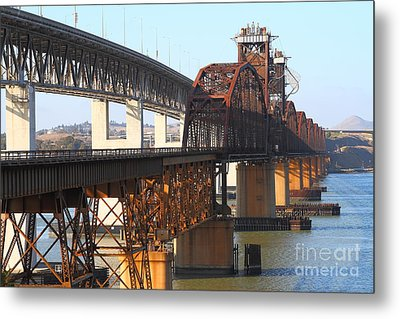 Benicia-martinez Bridges Across The Carquinez Strait In California . 7d10425 Metal Print by Wingsdomain Art and Photography