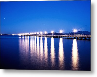 Berkeley Pier At Night Metal Print by Tanya Harrison