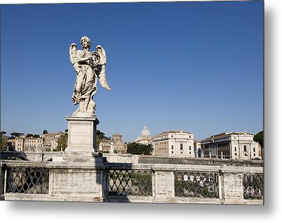 Bernini Statue On The Ponte Sant Angelo. Rome Metal Print by Bernard Jaubert