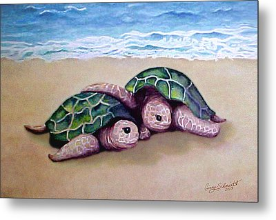 Metal Print featuring the painting Best Friends Forever by Ginny Schmidt