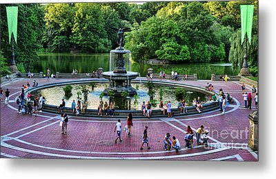 Bethesda Fountain Overlooking Central Park Pond Metal Print by Paul Ward