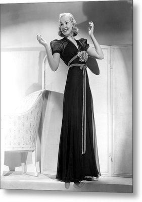 Betty Grable In Black Chiffon Dinner Metal Print by Everett