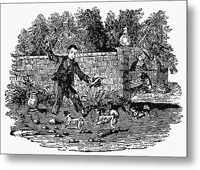 Bewick: Boy With Dogs Metal Print by Granger