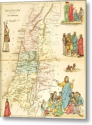 Biblical Map Palestine Metal Print by Pg Reproductions