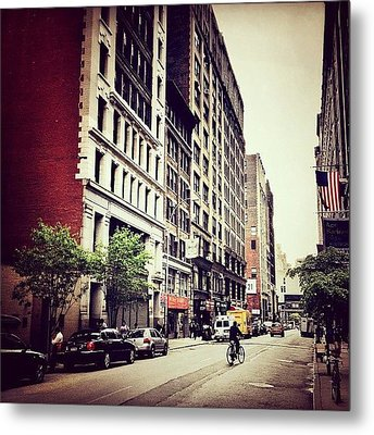 Bicycle And Buildings In New York City Metal Print by Vivienne Gucwa