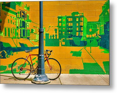 Bicycle And Mural Metal Print by Steven Ainsworth