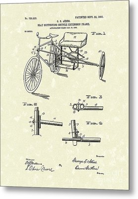 Bicycle Extension Frame 1903 Patent Art Metal Print by Prior Art Design