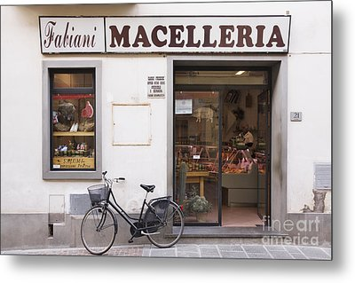 Bicycle In Front Of Italian Delicatessen Metal Print by Jeremy Woodhouse
