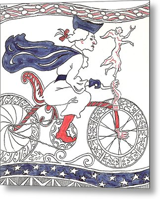 Bicycle Rider In France Metal Print