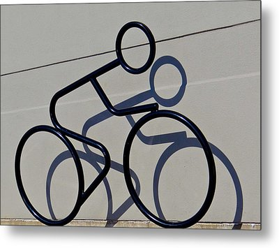 Bicycle Shadow Metal Print